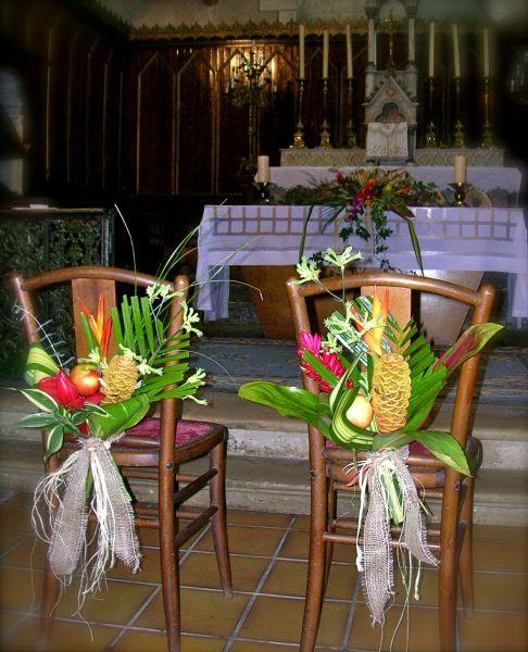 décoration des bancs des mariés à l église